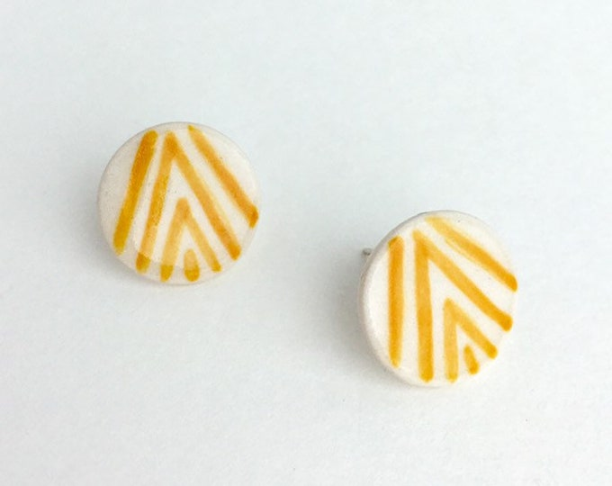 Round Porcelain Stud Earrings / Mustard Yellow Ceramic Earrings / Geometric Stud Earrings / modern jewelry gift / canary yellow earrings