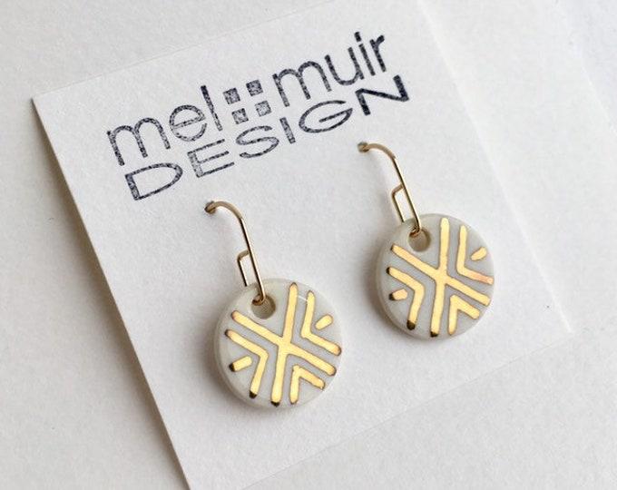 Round Porcelain Dangle Earrings / Gold Geometric Earrings / Southwestern Design Earrings / Ceramic Gold Dangle Earrings