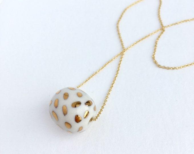 gold dots // porcelain necklace