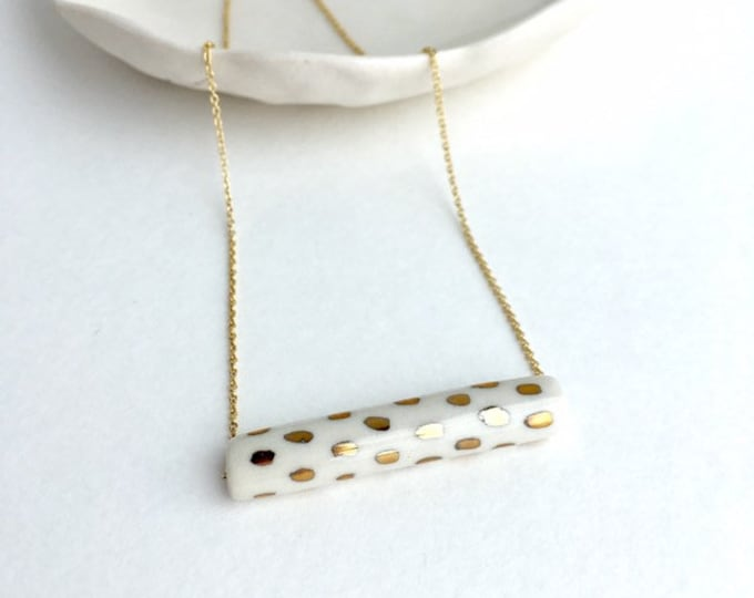 slim bar necklace with gold polka dots // porcelain necklace // jewelry gift // tube necklace