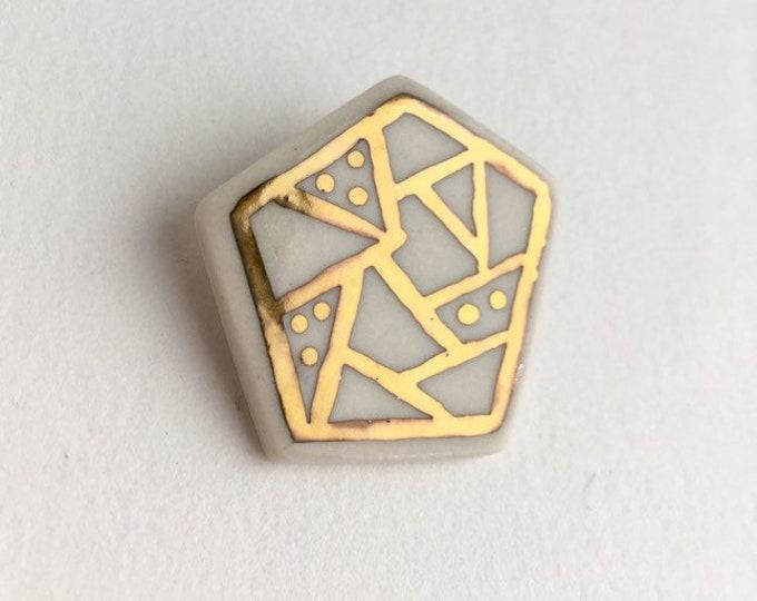 ceramic brooch // porcelain pin // gold luster