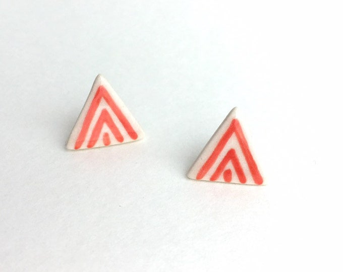 Triangle Porcelain Stud Earrings  /Coral Geometric Ceramic Studs / Triangle Earrings