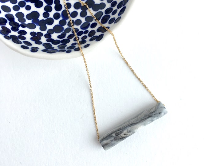 marbled grey tube  // porcelain necklace