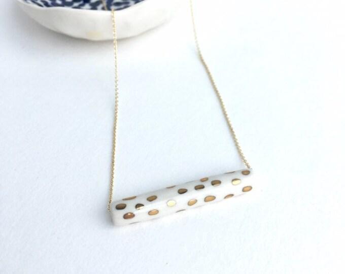 slim tube + gold dots // porcelain necklace