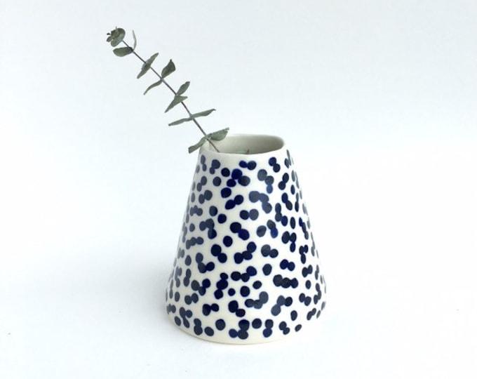 Indigo Blue Dots Ceramic Vase // Blue and White Pottery // Ceramic Bud Vase // Mother's Day Gift Vase