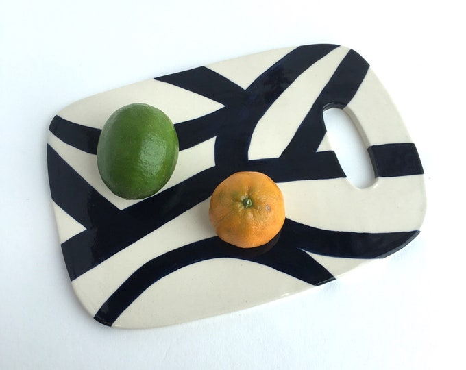 ceramic cheese board // hors d'oeuvre serving plate // navy blue