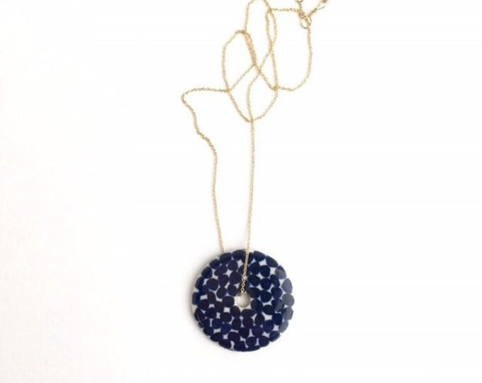 porcelain necklace // circle + dots in navy / indigo