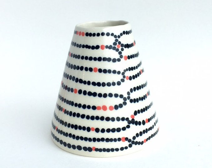 Blue and White Polka Dot Ceramic Vase // Mother's Day Vase // Blue and White Pottery // Ceramic Bud Vase