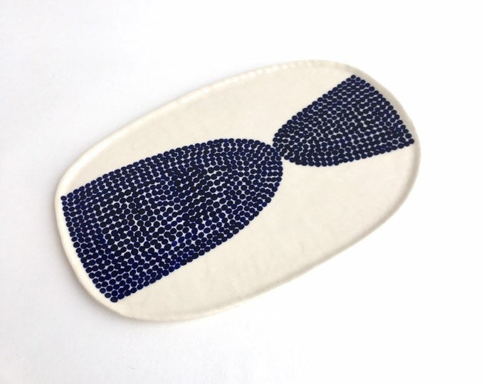 hand painted ceramic plate // hors d'oeuvres serving plate // indigo blue