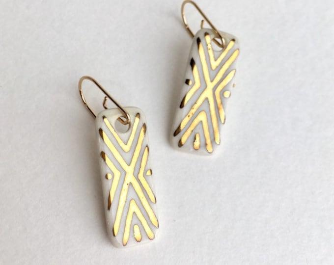 Porcelain Dangle Earrings / Gold Geometric Earrings / Ceramic Dangle Earrings / Boho Dangle Earrings / Southwestern Pattern Earrings