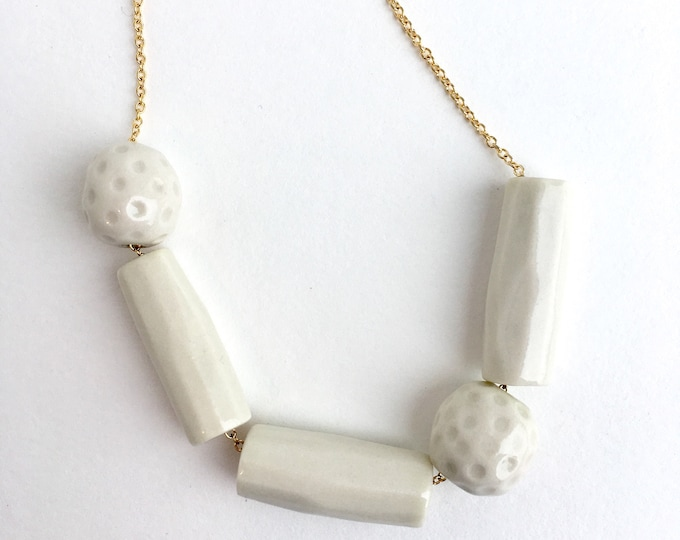 tubes and dots // porcelain necklace // white porcelain statement necklace // minimalist necklace // simple geometry