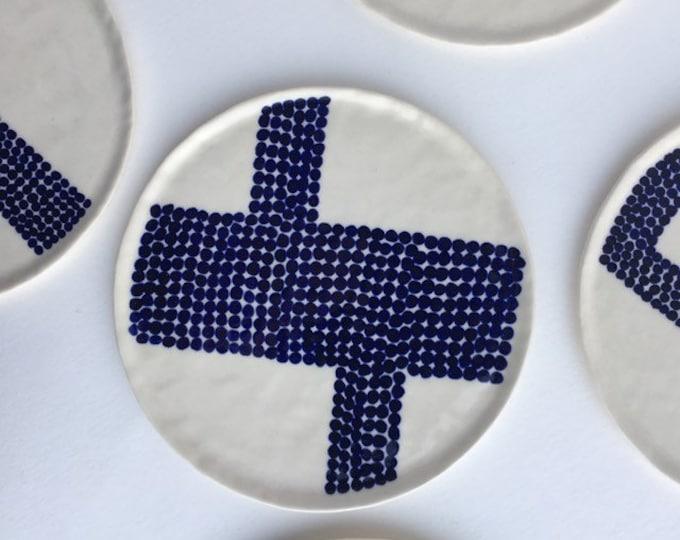 small plate / trinket tray in blue & white polka dot pattern