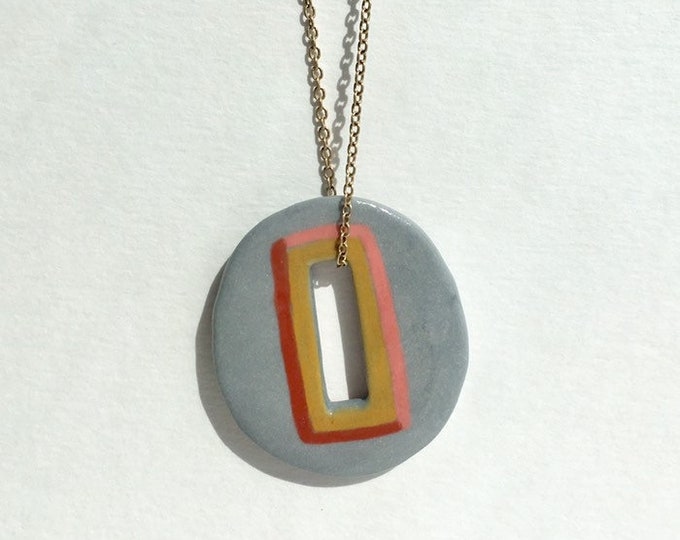 porcelain necklace // gray necklace //  mustard pink rust necklace // oval pendant necklace
