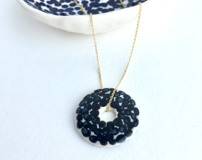 porcelain necklace // circle + dots