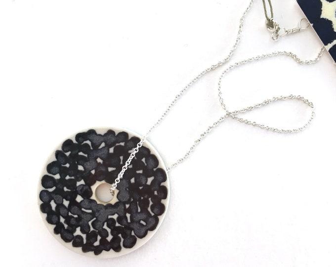 black dots + large medallion  // porcelain necklace