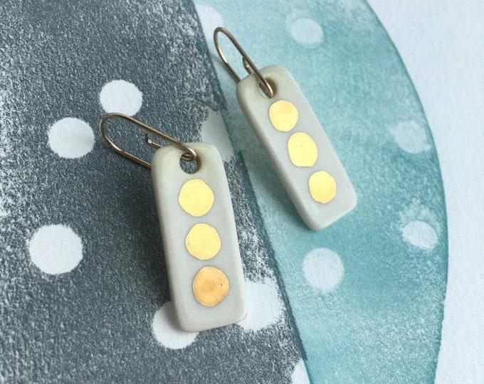 Porcelain Dangle Earrings /Gold Polka Dot Earrings / White and Gold  Dangle Earrings /Modern Jewelry Gift / Modern Ceramic Earrings