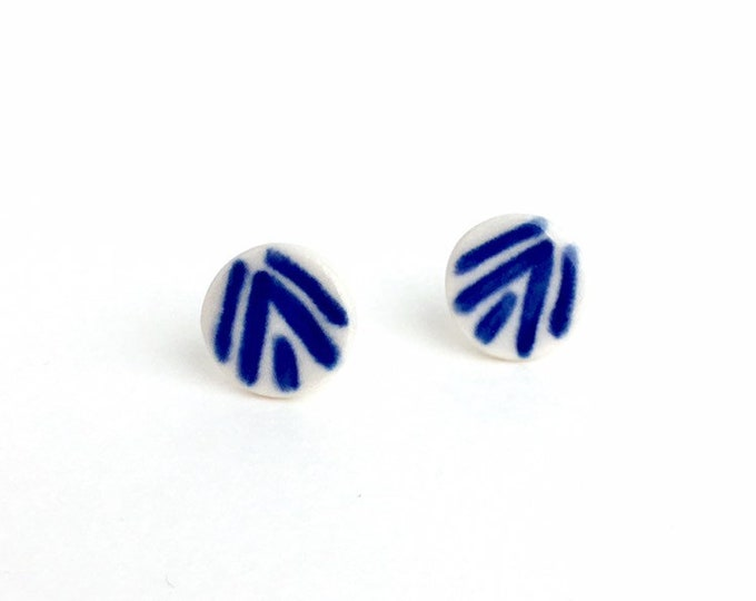 Round Porcelain Stud Earrings / Round Blue and White Stud Earrings / Geometric Ceramic Studs / Cobalt Blue Earrings /Jewelry Gift