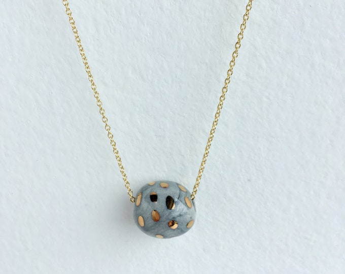 gold dots on small marbled grey bead // porcelain necklace