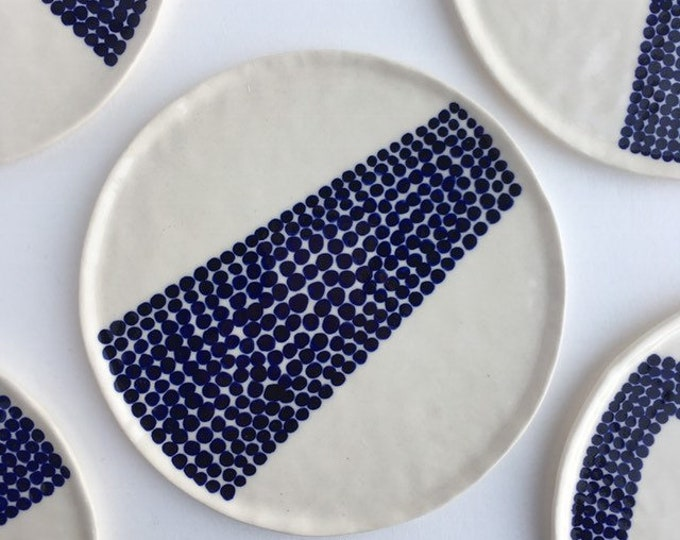 small plate / trinket tray in blue & white polka dot pattern