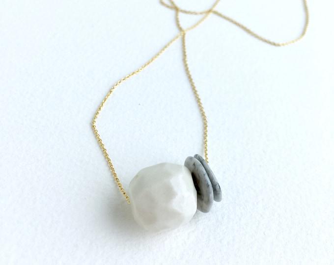 geometric porcelain necklace //faceted sphere + discs