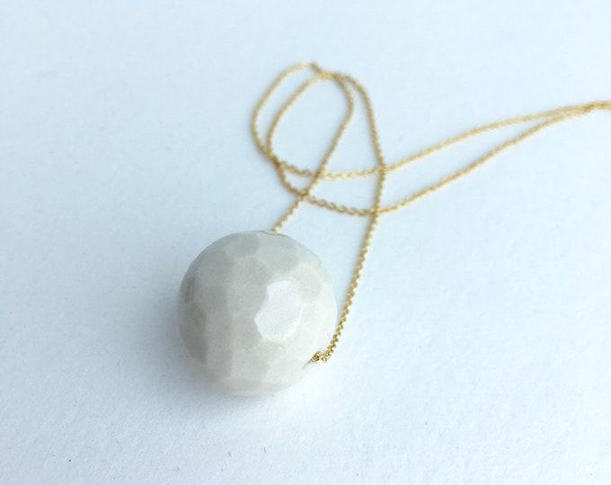 faceted sphere // porcelain necklace