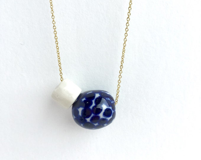 dots + facets // porcelain necklace // asymmetric jewelry // blue polka dots necklace
