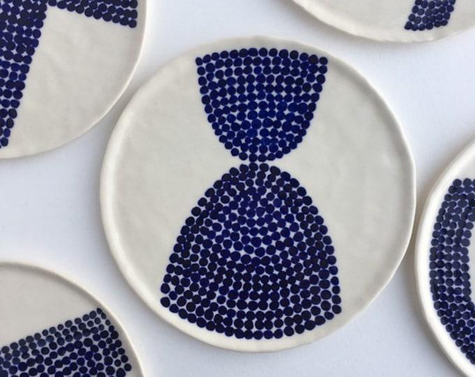 small ceramic dish / blue & white trinket tray / polka dot ceramic plate / modern decor