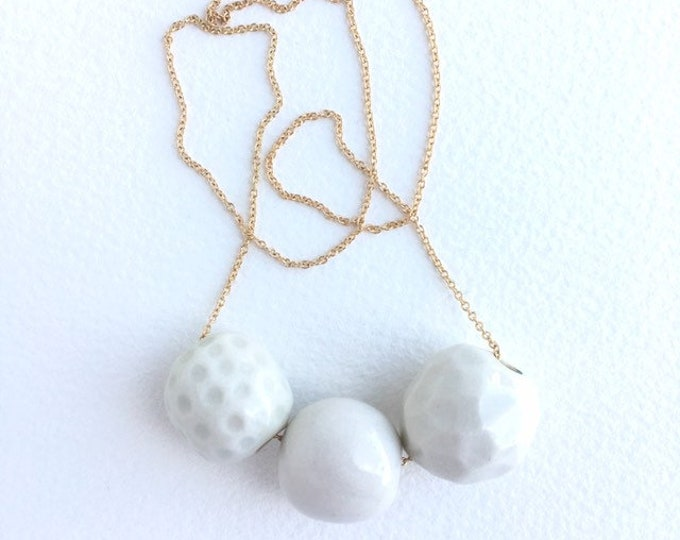 facets + smooth + dots // porcelain necklace