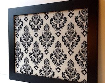 Bulletin board, LARGE magnet board, magnetic framed memo board, office decor, black and tan, neutral linen, damask pattern, wedding decor