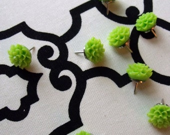 spring flowers, push pins, decorative thumb tacks, set of 10, lime green flowers, office supplies hostess gift, bulletin board, teacher gift