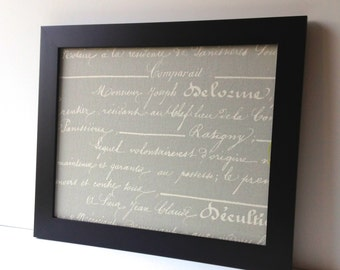 French style, LARGE magnet board, magnetic bulletin board, office decor, framed memo board, grey and cream, fabric covered - wedding decor
