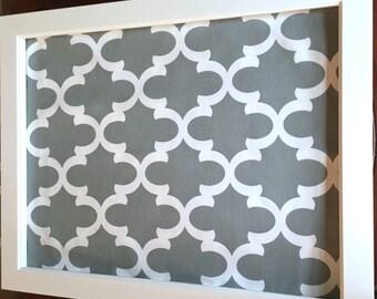 Framed designer magnet board, EX LG decorative bulletin board, grey and white geometric fabric, office decor, wedding decor,