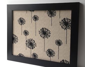 LARGE magnet board, modern decor, magnetic bulletin board, office decor, framed memo board - black & tan, fabric covered
