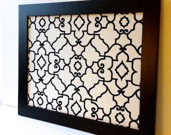 EX-LARGE magnet board, magnetic bulletin board, office decor, framed memo board, black & off-white, modern office decor, wedding decor