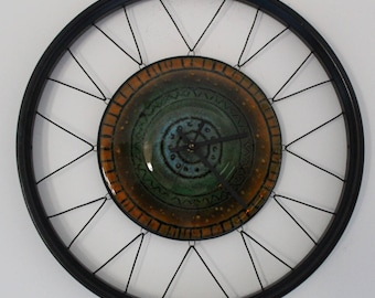 Aztec - Fused Glass Bicycle Wheel Clock