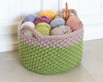 CROCHET PATTERN - Woodland Moss Chunky Basket