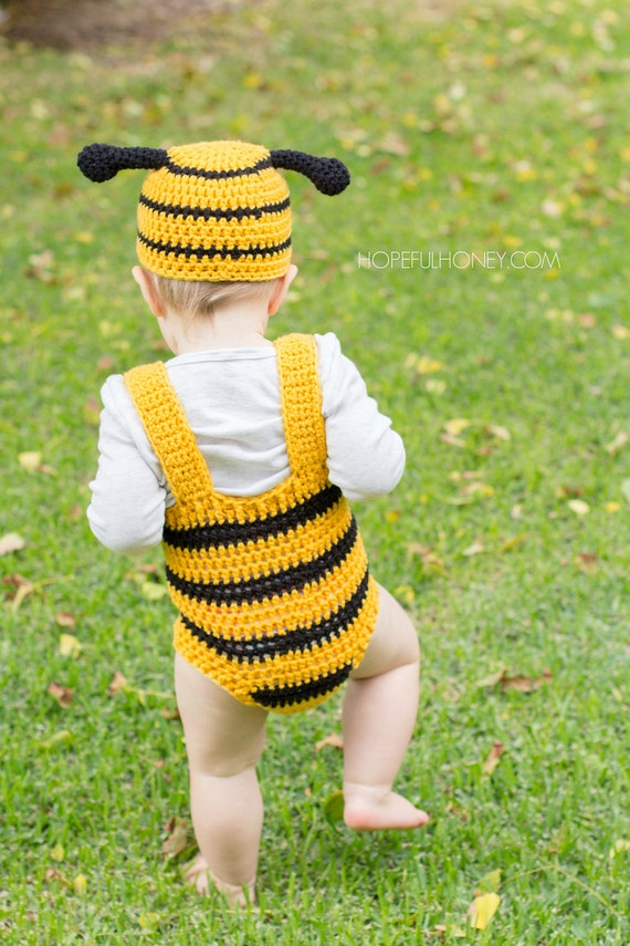 Crochet Pattern Bumble Bee Baby Hat Playsuit Set Etsy