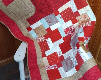 Lap Quilt With Hand Pocket, Wheelchair Quilt, Quilted Throw, Lap Blanket