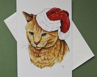 Grumpy Ginger Santa Cat Christmas card with glitter
