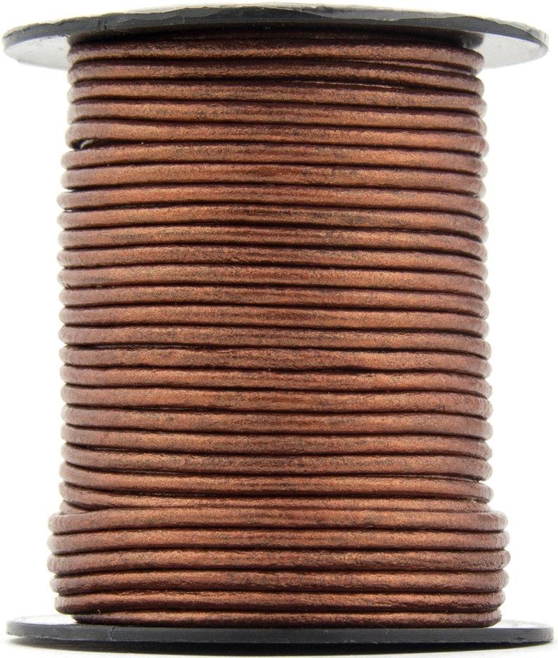 Xsotica\u00ae Copper Metallic Round Leather Cord 1.5mm 10 Feet