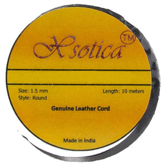 10 Meters 11 Yards Xsotica Round Leather Cord 1mm Natural Dye Black