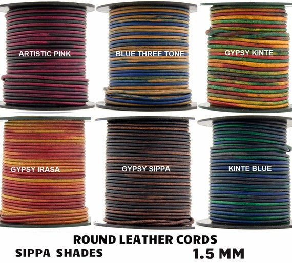 11 yards Xsotica® Gypsy Sippa Natural Dye Round Leather Cord 1.5mm 10 meters