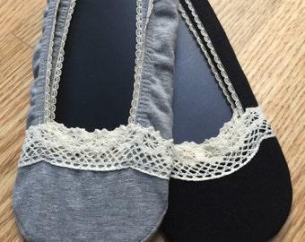 Cotton socks, LACE SOCKS, Lined in Lace Socks in Black/ black lace sock , foot liner,Lace socks, Peep toe socks,