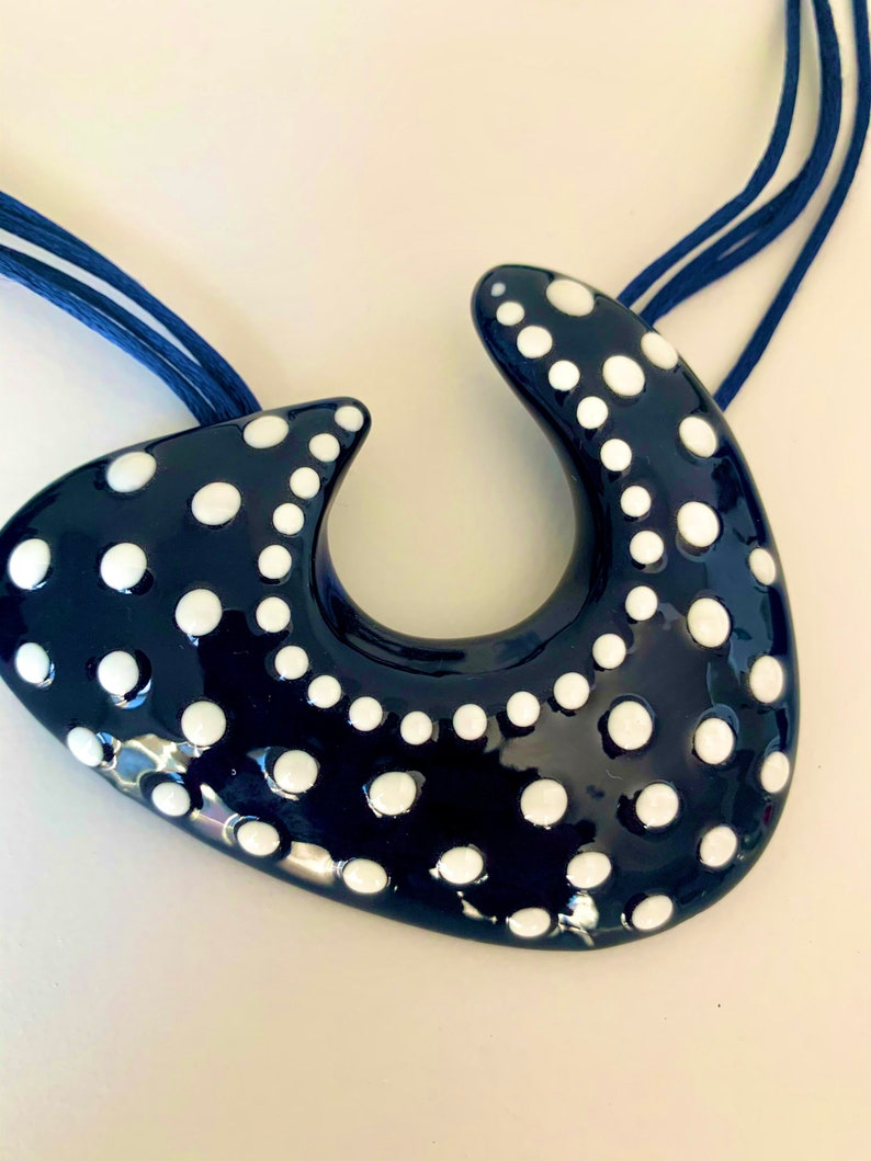 Hand made Hand painted  pottery  ceramic necklace and earrings set Navy blue white polka dots.