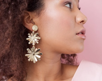 Statement gold leather layered flower earrings