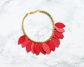 Handmade gold rope and pink & coral leather petals necklace