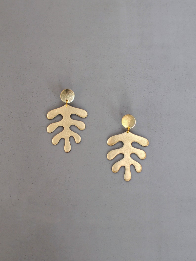Gold leather Matisse inspired earrings image 0