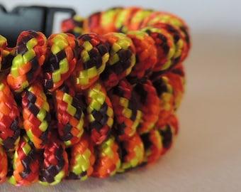 Fishtail Braid Fireball 325 Paracord Bracelet, Essential Oil Diffusing Bracelet