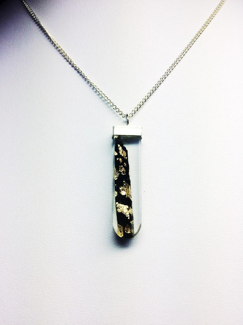 Ebony Shard with Gold Leaf set in Round Bottom Rectangular image 0