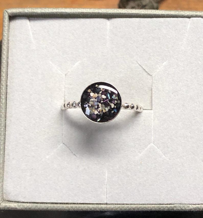 Single Bezel Sterling Silver Pet Cremation Ashes Memorial Ring Pet Cremation Urn Ashes Ring